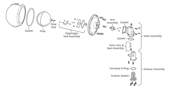 McDonnell & Miller Model 25-A Make-Up Water Feeder Exploded View