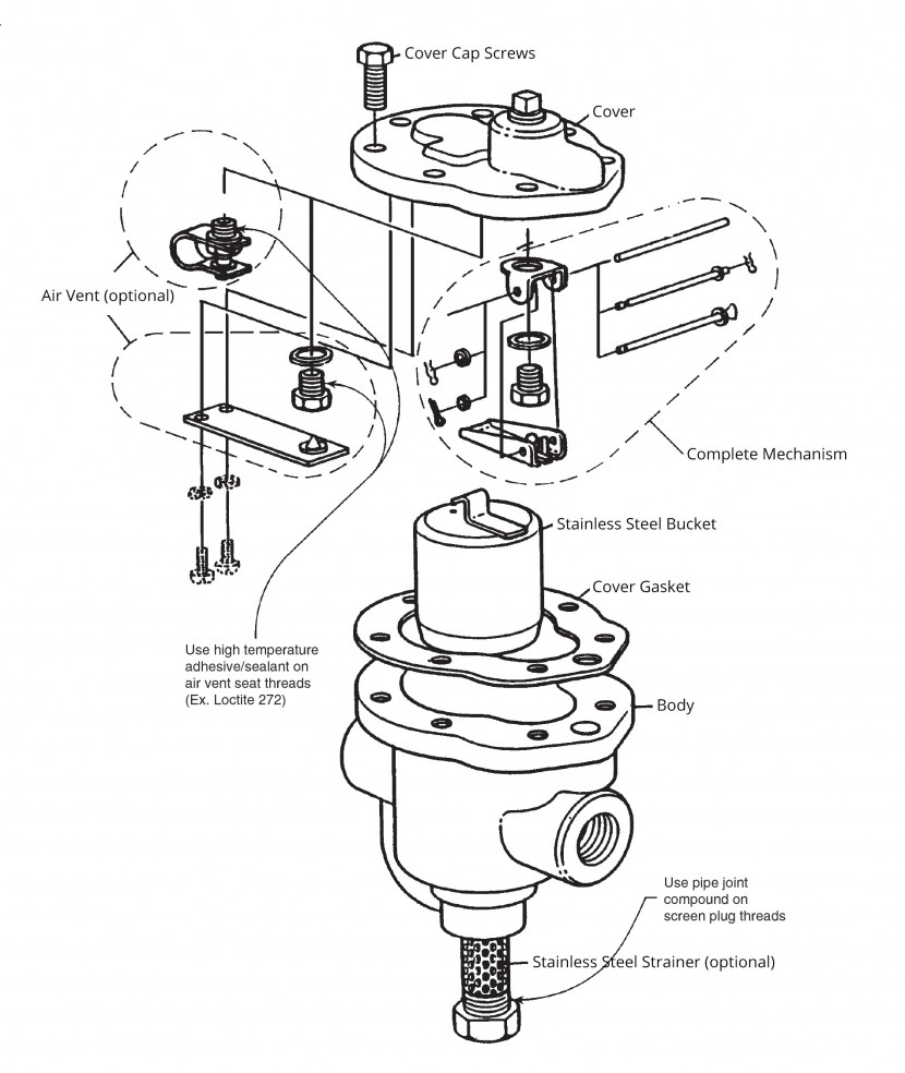 Spirax Sarco 600 Series Inverted Bucket Steam Traps Trap Diagram Exploded View