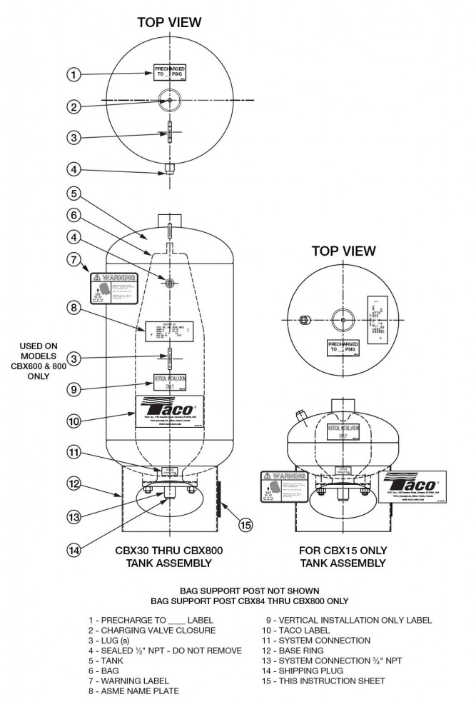 taco cbx series expansion tanks for heating  u0026 cooling