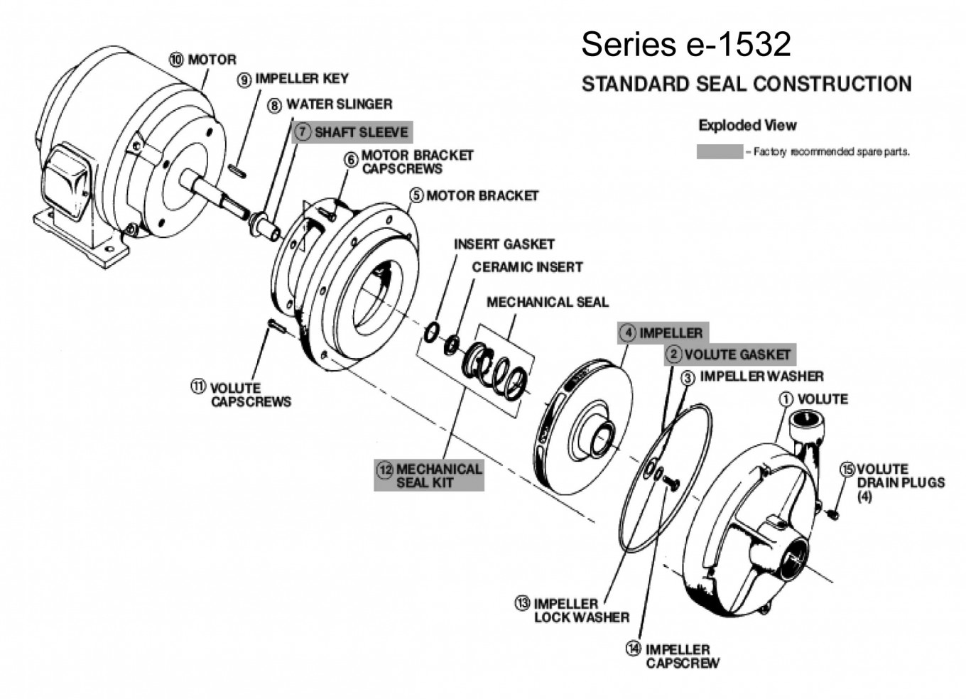 Bell Gossett Series E 1532 Pumps Wiring Diagram W Standard Seal Exploded View