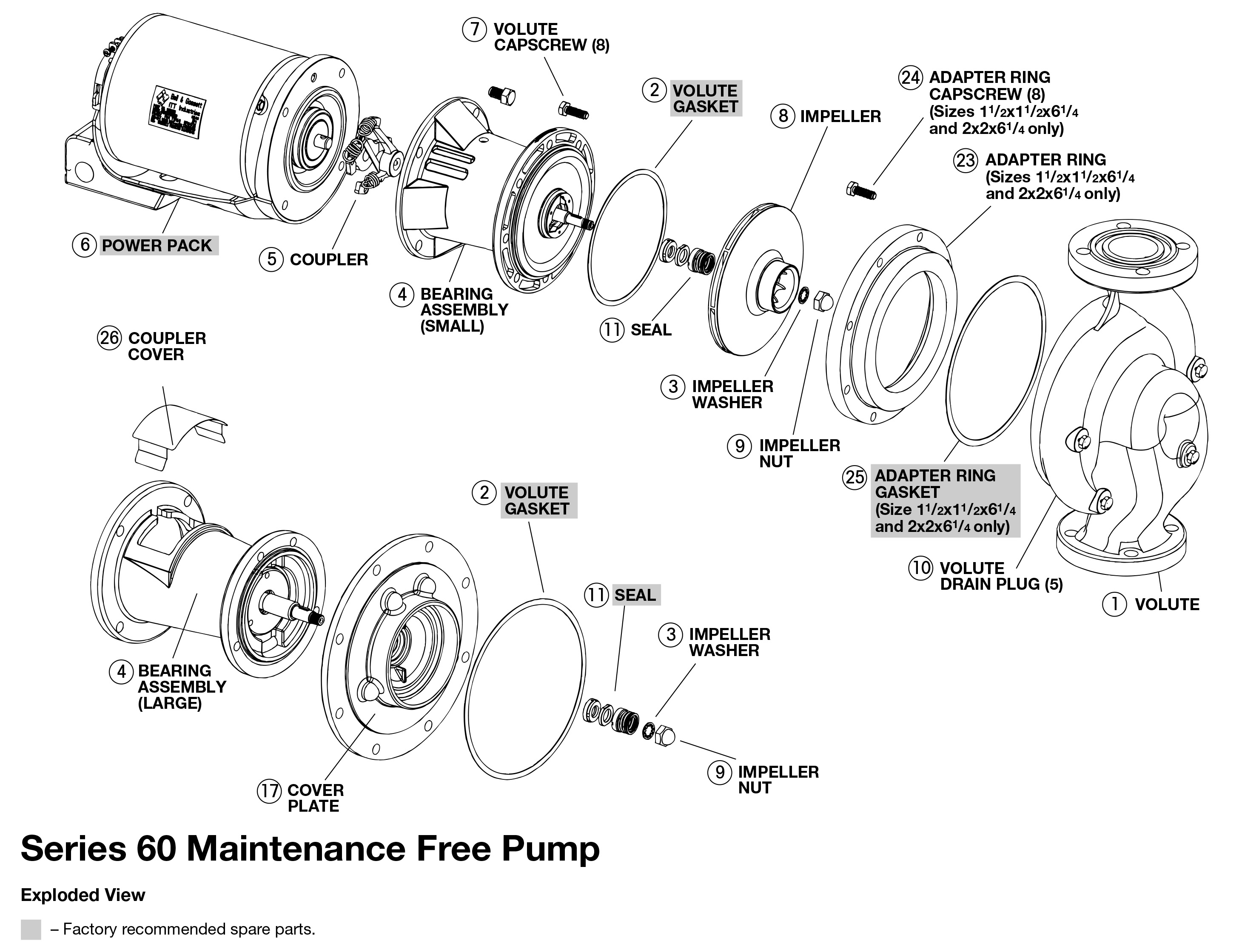 bell gossett series 60 in line centrifugal pumps bell gossett series 60 maintenance exploded view